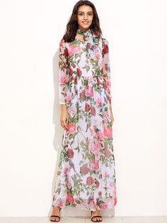 Multicolor Floral Chiffon Maxi Dress