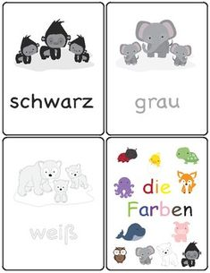 Colors in German ~ die Farben ~ Flash Cards ~ Match Up Cards Print and laminate these cute color flash cards. These flash cards are designed for children who are learning the color names in German.
