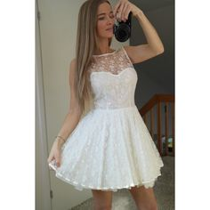 Simple-dress Pretty Short White Lace Short 2015 Homecoming... ($127) ❤ liked on Polyvore featuring dresses