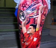 Steven Gerrard from FC Liverpool, awesome realistic tattoo work done by tattoo artist Steve Butcher Tatouage Liverpool, Liverpool Tattoo, Liverpool Logo, Liverpool Anfield, Liverpool Champions, Liverpool Soccer, Liverpool Legends, Sport Tattoos, Movie Tattoos