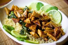 Sweet Chili Lime Tofu with Wok Steamed Collards and Quinoa by teenytinyturkey, via Flickr