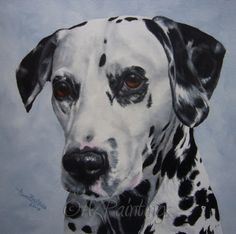 Dalmatian portrait commission in oils, painting by artist Anne Zoutsos