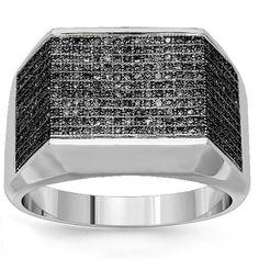 14K White Gold Mens Black Diamond Pinky Ring 0.75 Ctw: Avianne & Co: Jewelry