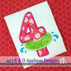 Inner Tube Birthday 4 Applique Design