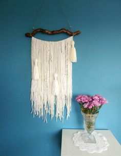 Cream wall tapestry garland Bohemian Decor Wall by handmadebyfofo