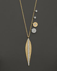 """Meira T Diamond Leaf Necklace in 14K Yellow Gold, .35 ct. t.w., 16"""" 