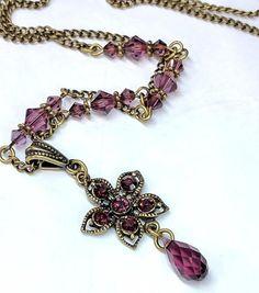 Swarovski Amethyst Crystal Pendant Necklace Floral Pendant
