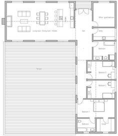 Plano de casa con diseño muy original y 3 dormitorios-3: