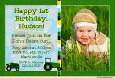 John Deere Birthday Invitation - like the double party invite.I would do Pink tractors and BaByQ invite