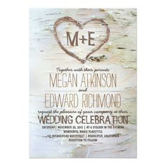 "Birch tree heart rustic wedding invitations 5"" x 7"" invitation card $2.16 per card"