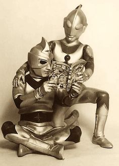 """""""Japanese heros reading a kid's magazine."""" - I recognize Ultraman, but who's the other one?"""