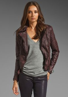 MUUBAA Minsk Quilted Leather Biker Jacket in Berry at Revolve Clothing