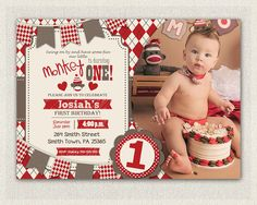 SOCK MONKEY INVITATION Boys 1st Birthday by InvitationsByLittleP