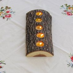 Make ur own:  5 tealight wood candle holder, low lying bark on split log, beeswax candles