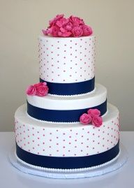 Wedding Cake with Pink Blossoms and navy ribbon.... With yellow instead