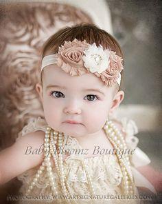 Baby Headband Ivory Beige Vintage Headband Shabby Headband Baby Bows girl…