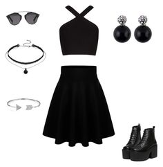 """""""Black outfit for a day out"""" by shayange on Polyvore featuring BCBGMAXAZRIA, Christian Dior and Bling Jewelry"""