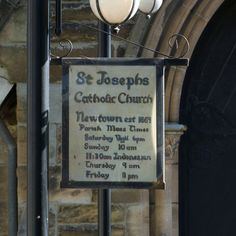 the entry sign to St Josephs Catholic church at Newtown, New South Wales.