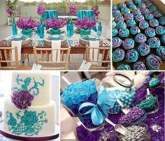 Peacock purpleturquoise wedding decor turquoise wedding