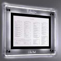These illuminated signs provide an attractive image for your bar, restauarant, pub or club & are exclusive to the Menu shop. Wall Display Case, Poster Display, Aquarius, Illuminated Signs, Bright Walls, Panel, Commercial Interiors, Wall Mount, Signage