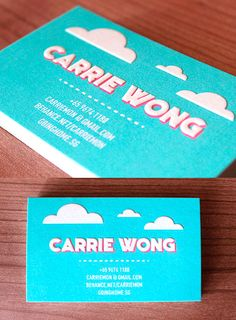 Whimsical Embossed Business Card For A Graphic Designer