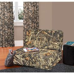 Add a sense of nature to your room with the Realtree Max-4 Camo Flip Chair. It can also completely fold up into a comfortable chair or serve as a reclining lounge chair. $99  #Realtreecamo