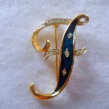 DeNicola Letter F Initial Brooch Vintage Pin from Suzy's Timeless Treasures