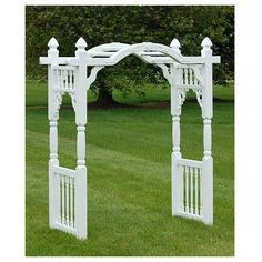 Superior Plastic Products Turn your garden entry into a focal point on its own with the Superior White Madison Arbor. Placing an arbor in your front yard adds remarkable style to it, and the bevy of s Outdoor Pergola, Backyard Pergola, Landscape Design, Garden Design, Landscaping Near Me, Garden Arches, Garden Arbor, Garden Structures, Plastic Products