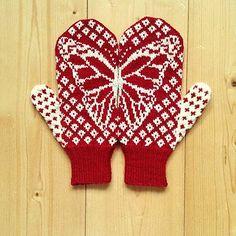 Ravelry: Butterfly Wish Mittens pattern by Emily Bujold Crochet Hand Warmers, Crochet Mitts, Knitted Mittens Pattern, Knit Mittens, Knitted Gloves, Knitting Charts, Knitting Patterns, Crochet Patterns, Wrist Warmers