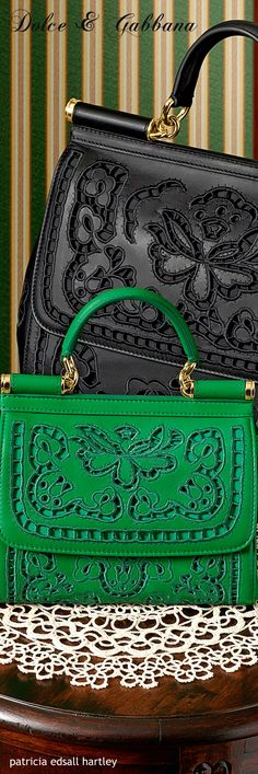 Dolce & Gabbana ~ Black + Kelly Green Lace Cut-out Leather Satchel, Winter 2016