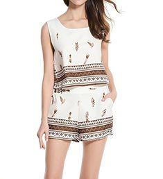 ccc0b84267 DmsBanga Vintage Style Women 2 Pcs Floral Print Bohemian Sleeveless Crop  Tops Shorts With Pockets Set