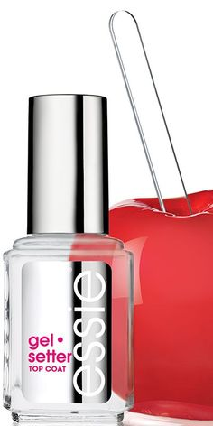 Essie Gel Setter - just tried tonight and I'm impressed. Covers blemishes and creates a nice, shiny, plumping effect similar to a gel. Hope it wears longer than regular top coats!