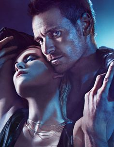 Michael Fassbender & Charlize Theron by Mario Sorrenti - W Aug 2012