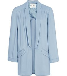 Beautiful pastel blue Issey blazer from Reiss will work wonders for apple-shaped women. The open front will create vertical lines on an apple's body which will break up the figure, which will elongate & slim the apple body. Light weight, softly draped material ensures there is no unnecessary volume added to the wider upper half of an apple's body, & there is enough structure in this blazer to prevent it from being baggy & overwhelming the body. Sublime S/S '12 style for apple-shaped women.