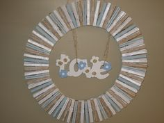 Clothespin wreath with jute accents
