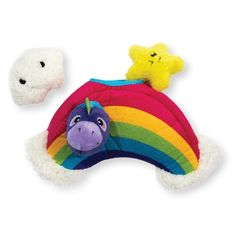 Hide A Rainbow The Outward Hound Hide A Rainbow is one of the newest puzzle plush toys for dogs. This boredom buster stimulates mental play with squeaky Unicorn, Star & Cloud toys hidden inside. The Hide A Rainbow puzzle dog toy was created to keep do Dog Puzzles, Puzzle Toys, Stimulating Dog Toys, Rainbow Dog, Interactive Toys, New Puppy, Squirrel, Your Dog, Dinosaur Stuffed Animal