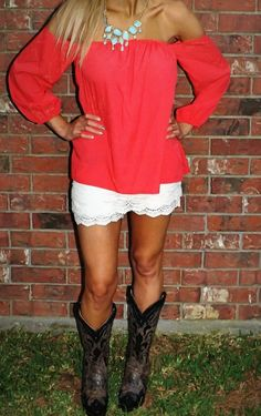 Presh Boutique  - Summer Nights Shoulder Top-Coral, $22.00 (http://shoppreshboutique.com/summer-nights-shoulder-top-coral/)