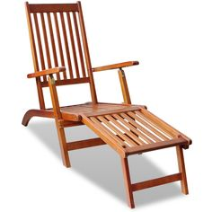 Outdoor Deck Chair with Footrest Acacia Wood - Garden and Outdoor