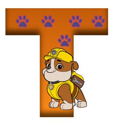 T paw patrol Paw Patrol Theme Party, Paw Patrol Birthday, Dog Themed Parties, Cute Alphabet, Ideas Para Fiestas, Cartoon Dog, Letters And Numbers, Holidays And Events, Winnie The Pooh