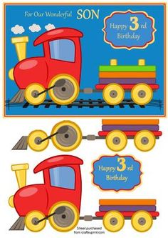 birthday card for son with train age 3 on Craftsuprint designed by Julie Hassall - A lovely bold bright card which is sure to delight any little boy. The train has decoupage layers which give a lovely 3D effect. This design fits an A5 card but can be resized. Please take a look at my other designs.Happy crafting! - Now available for download!