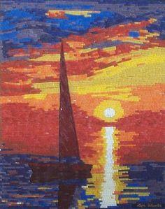 """The Essence of Tranquility"" - mosaic and micro mosaic art, seascape | lizawheeler - Mosaics on ArtFire"