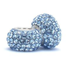 Set of 2 - Bella Fascini Heather Blue Crystal Pave Sparkle Bling - Solid .925 Sterling Silver Core European Charm Bead Made with Authentic Swarovski Crystals - Compatible Brand Bracelets : Authentic Pandora, Chamilia, Moress, Troll, Ohm, Zable, Biagi, Kay's Charmed Memories, Kohl's, Persona & more! Bella Fascini Beads,http://www.amazon.com/dp/B005LKCFCK/ref=cm_sw_r_pi_dp_5A5gtb1BN5Q9AK1S