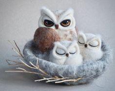 Needle felted owl nest by The Lady Moth - horned owl - fibre art - owl sculpture - owl family - spring decor - white owl - felted owl - UK