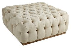 Tufted Cocktail Ottoman, Natural -- This button-tufted square ottoman sits on a rustic reclaimed-wood base. Its washed burlap linen upholstery looks neutral and warm. Handcrafted in the USA. Tufted Ottoman, Ottoman Bench, Ottoman Ideas, Settee, White Interior Design, Square Ottoman, Cocktail Ottoman, Extra Seating, Home Furnishings