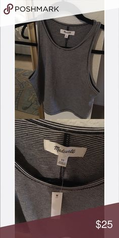 Madewell striped crop top Madewell striped crop top, high cut neckline. Super cute. Brand New with tags. Madewell XS, which typically fits XS-S. Madewell Tops Tank Tops