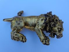 Astonishing 18th Century Early 1800s Gilt Bronze Royal Roaring Lion Sculpture !