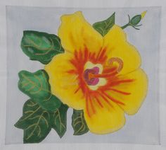 BB Needlepoint Designs BB 79 Yellow Hibiscus needlepoint canvas