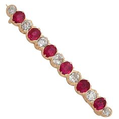 1.48 ct Ruby and 0.85 ct Diamond, 14 ct Rose Gold Bar Brooch - Antique Victorian | From a unique collection of vintage brooches at https://www.1stdibs.com/jewelry/brooches/brooches/