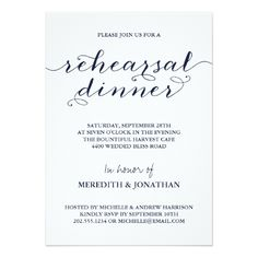 Elegant Navy Blue Rehearsal Dinner Card