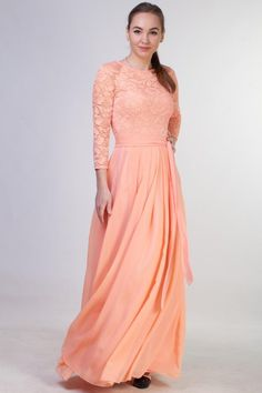 2d97522e90397 Lace peach bridesmaid dress long with sleeves. Modest prom dress with  sleeves. Plus size